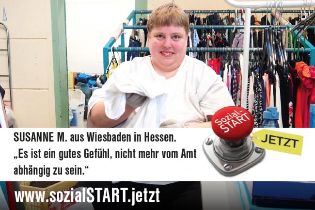 """Susanne M., SecondHand-Kaufhaus """"Fast wie neu"""" der Bauhaus Werkstätten Wiesbaden. Sie arbeitet in einer der wenigen geförderten Arbeitsplätze im Rahmen des Teilhabechancengesetzes, die bislang bei Sozialträgern bewilligt wurden."""